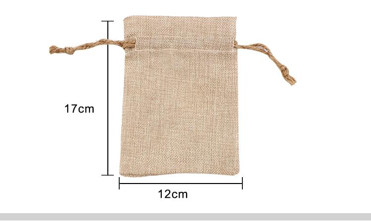 Faux Burlap Drawstring Bag-12*17CM