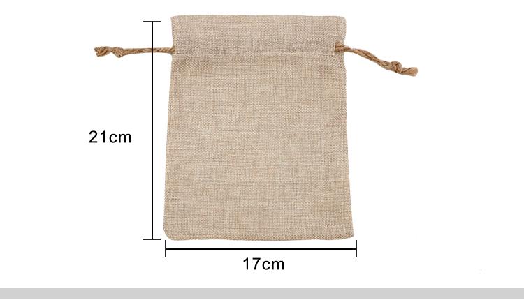 Faux Burlap Drawstring Bag 17*21CM