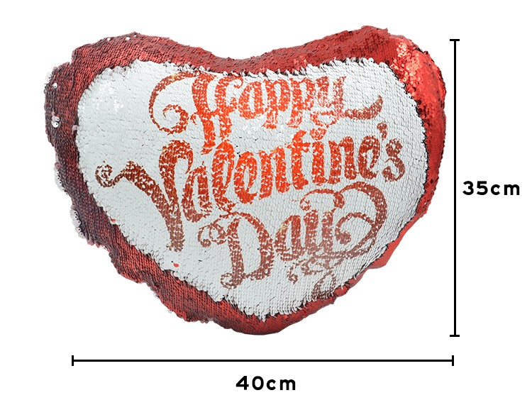 Sequin Pillow Case-Heart Shape-Red
