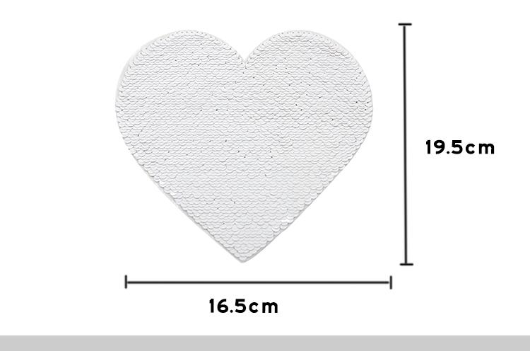 Blue Sequin Transfer Heart shape 16.5*19.5cm