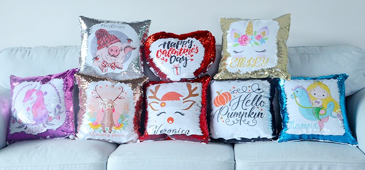 Sequin Pillow Case Square Shape Sliver