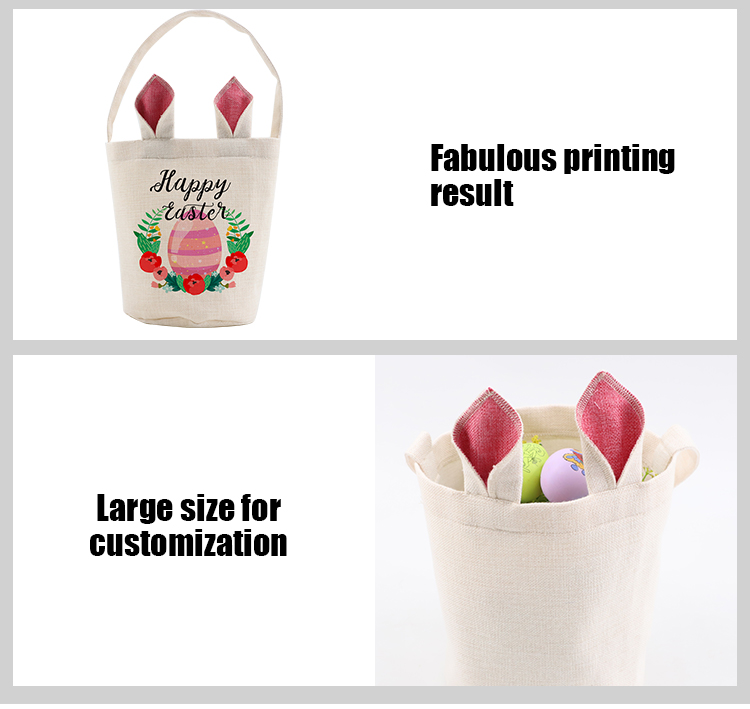 Unfinish-Linen Easter Basket-Natual with Pink Ear-Dia 7.8