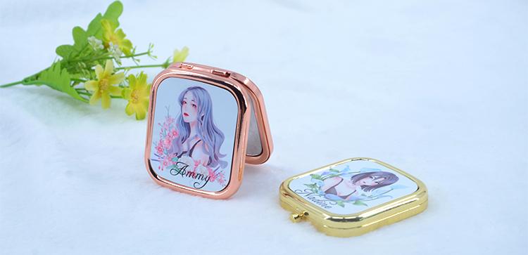 Compact Mirror-Rectangle-Rose Golden