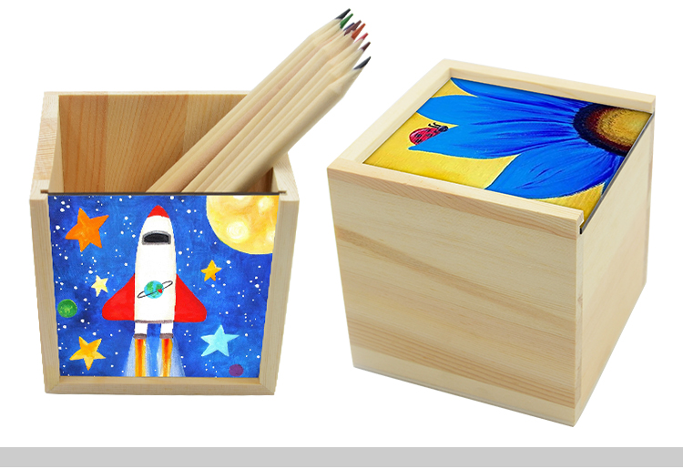 Wooden Pencil Holder with MDF Insert
