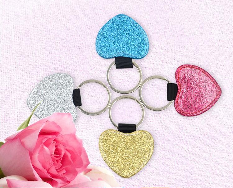 PU Glitter Key Chain-Heart Shape