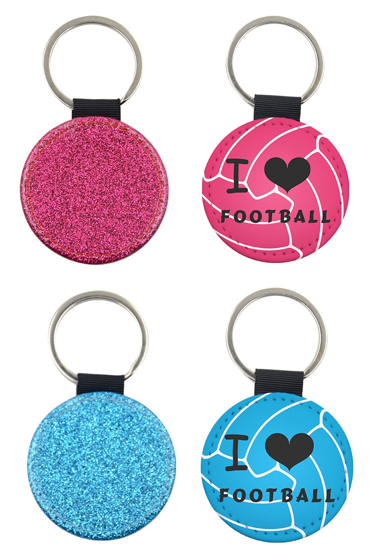 PU Glitter Key Chain - Round