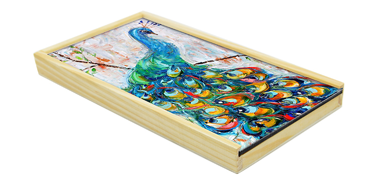 Wooden Pencil Box with MDF Insert-with 12pcs Colorful Pencil