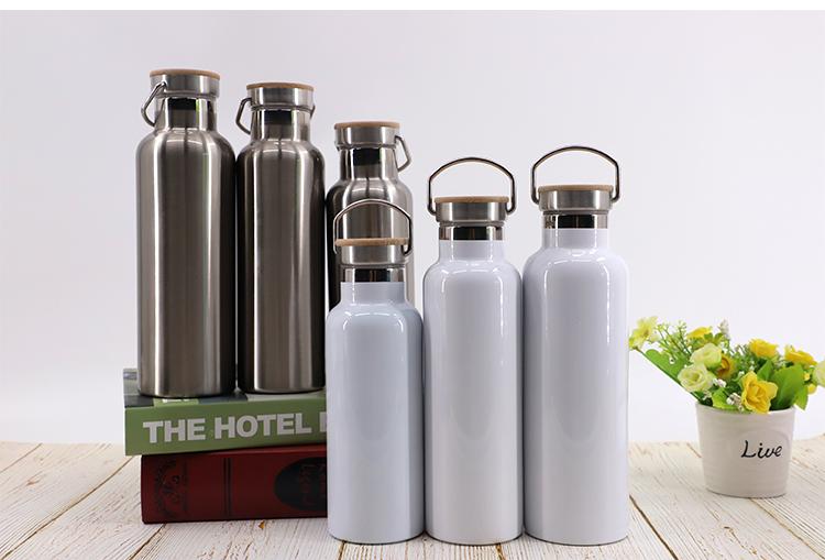 Portable Stainless Steel Bottle-600ml-Silver/White