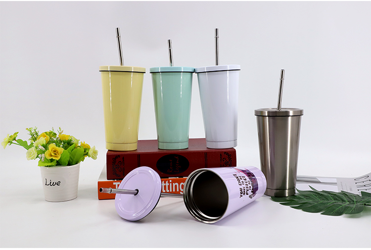 450ML Stainless Steel Straw Cup-Yellow-Glossy