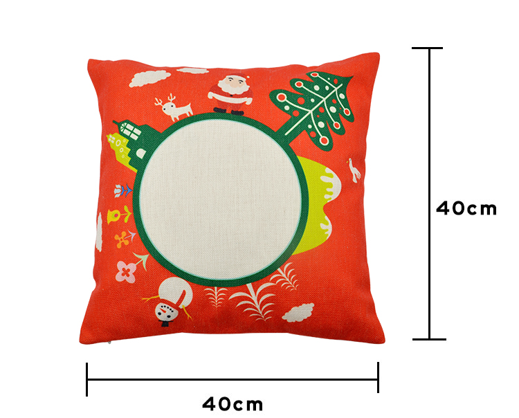Linen Pillow Case - Red With Xmas Pattern-Double-sided Printable Part