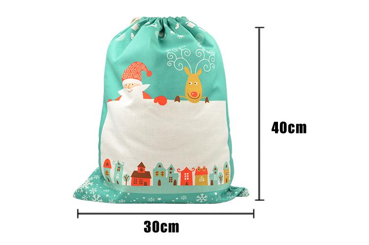 Linen Christmas Sack - Green Pattern - Small - 30x40cm