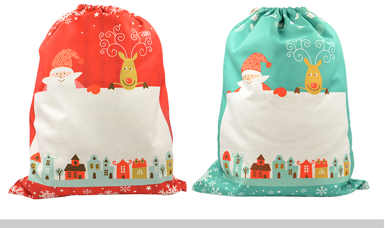 Linen Christmas Sack-Red Pattern Small-30x40cm