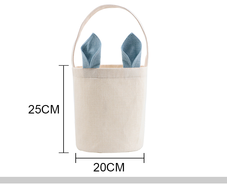 Linen Easter Basket-Natual with Blue Ear Dia 7.8