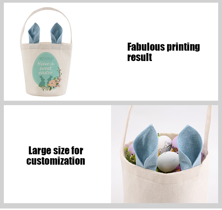 Linen Easter Basket-Natual with Green Ear