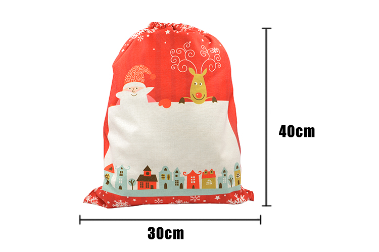 Linen Santa Sack-Red Xmas Pattern-50*66CM