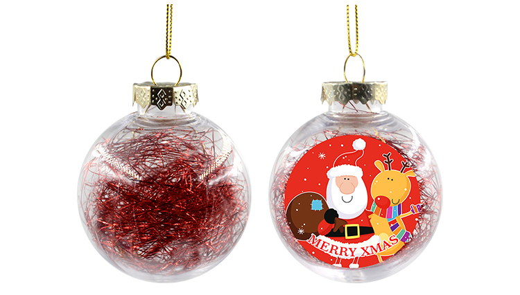 PET Ball with Glitter- Red -Dia:6cm