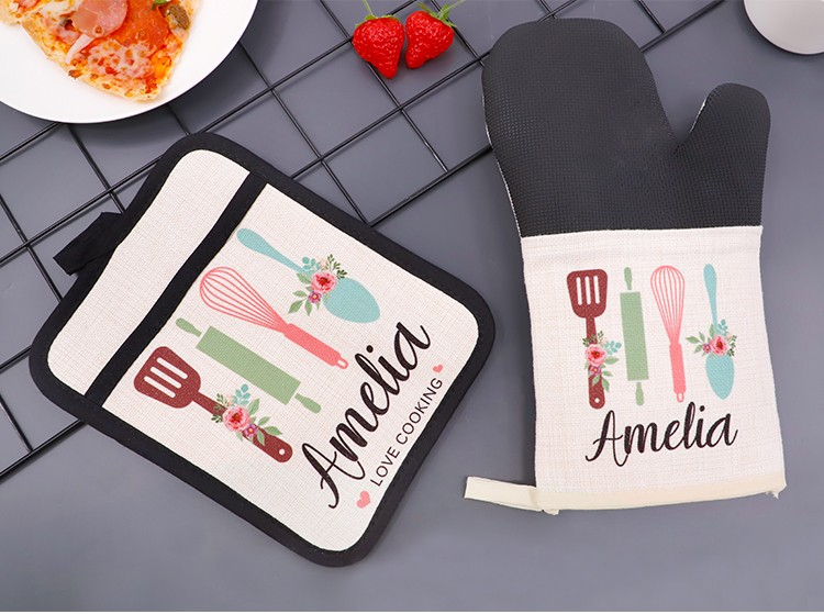 Sublimation Linen Oven Mitt with Rubber Patch