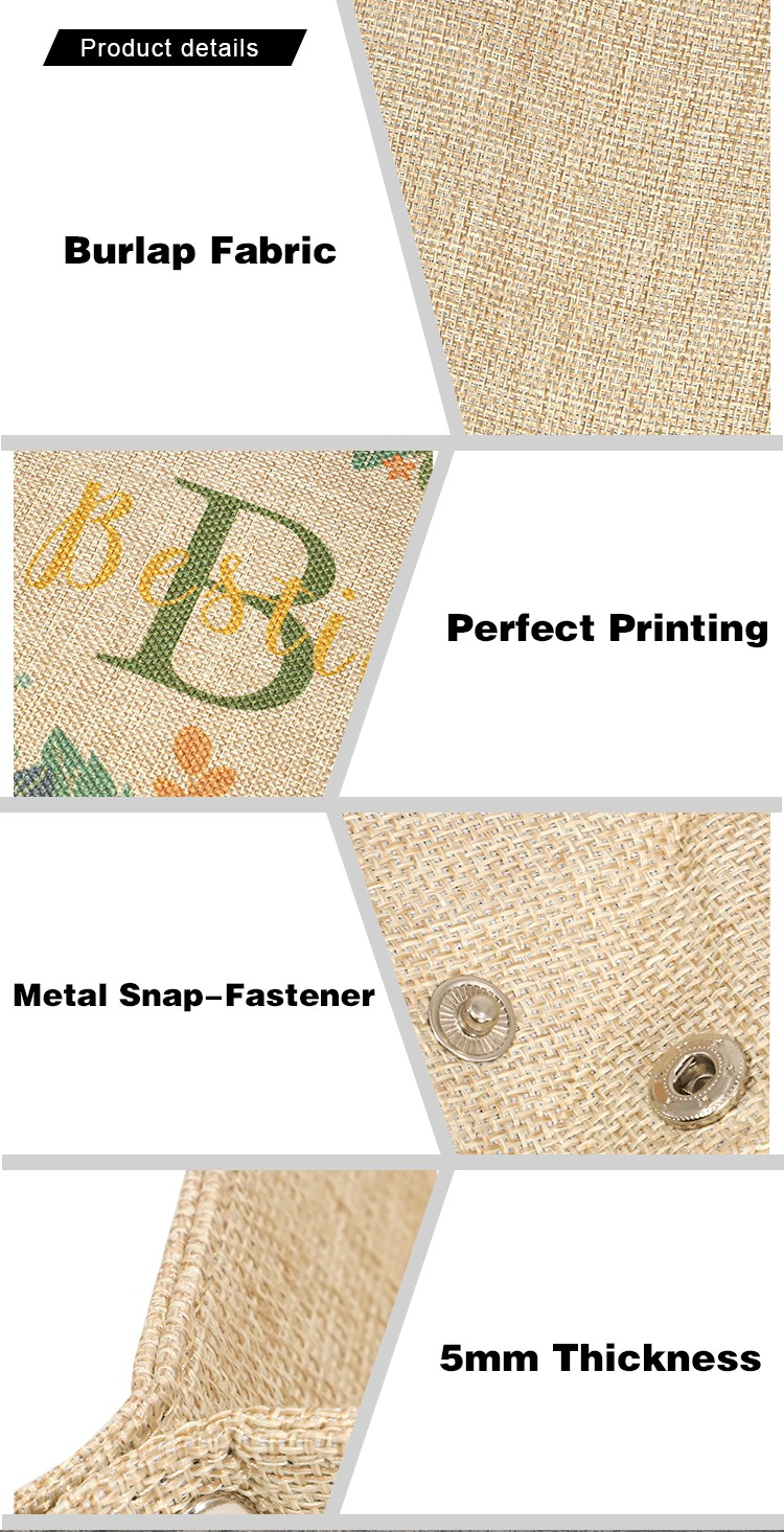 Sublimatable Burlap Snap Up Tray-Small Size