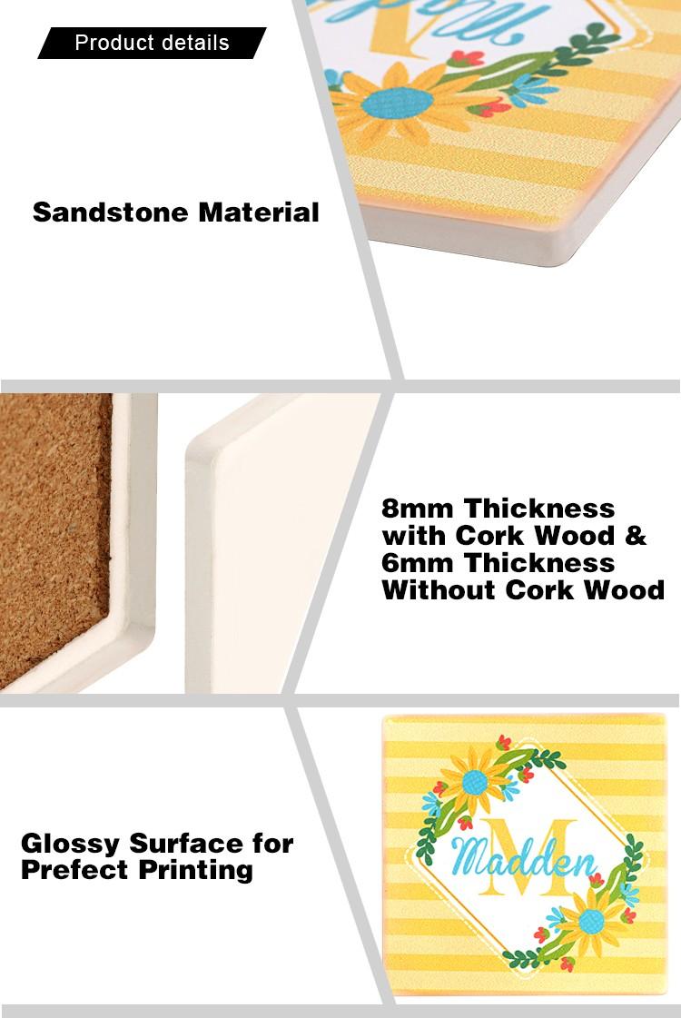 Sandstone Coaster-Square-Cork Base-Side Length 4.25