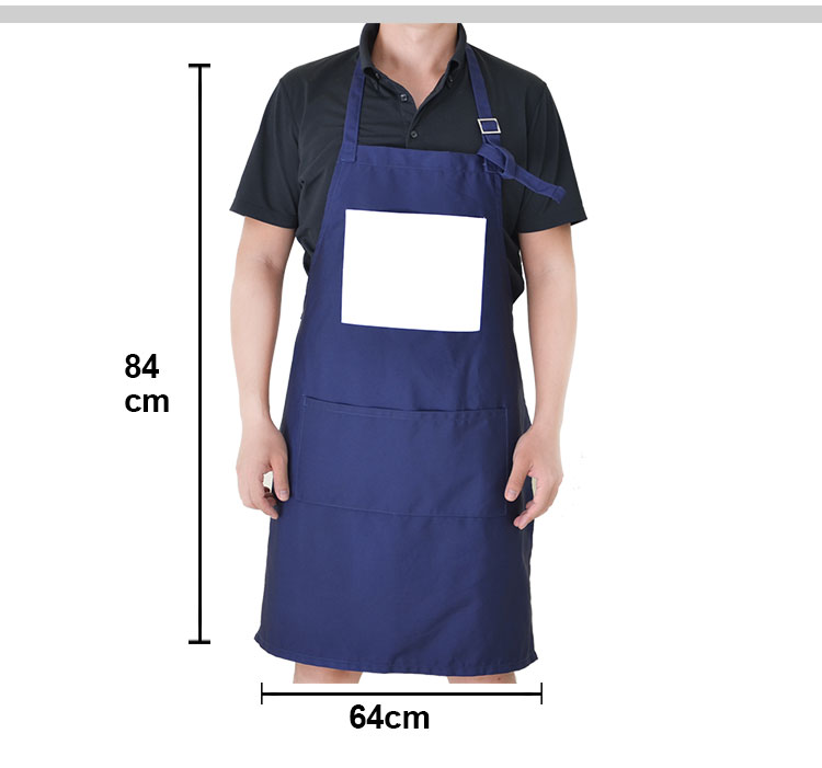 Adult Canvas Apron-White With Top Pocket