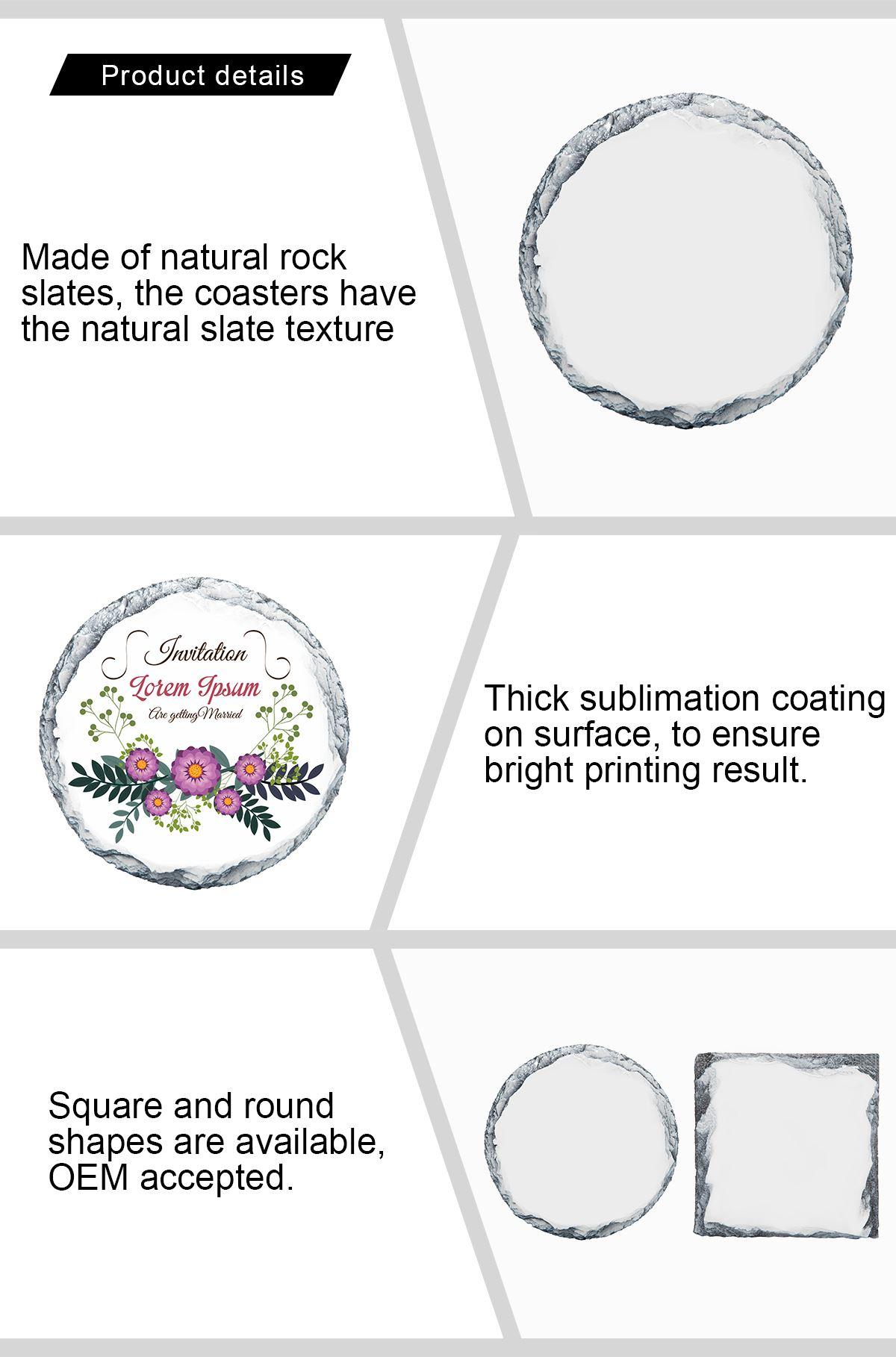 Photo Slate Coaster Round -Glossy  10*10