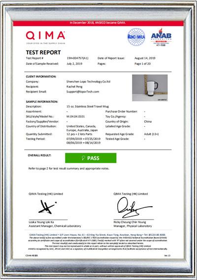 14oz Car Mug Test Report