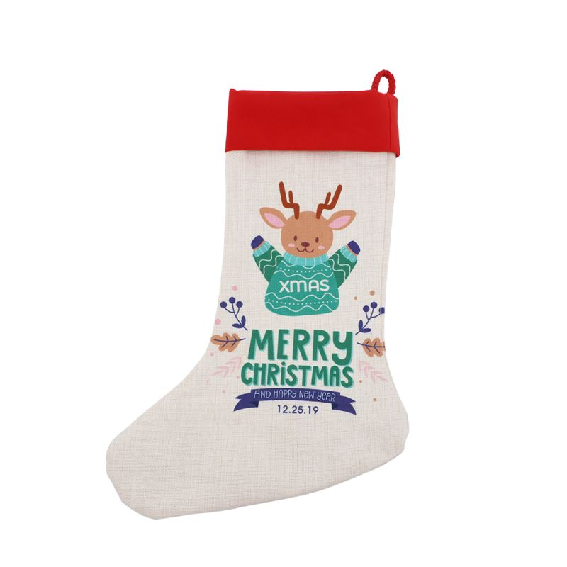 Linen Xmas Stocking with Red Cuff