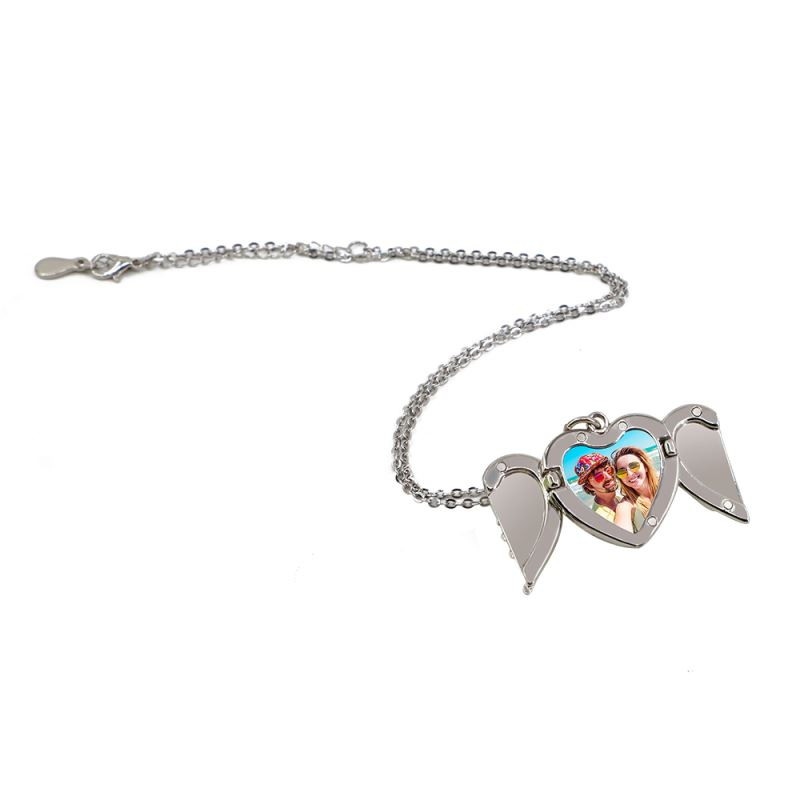 sublimation angel wing heart necklace