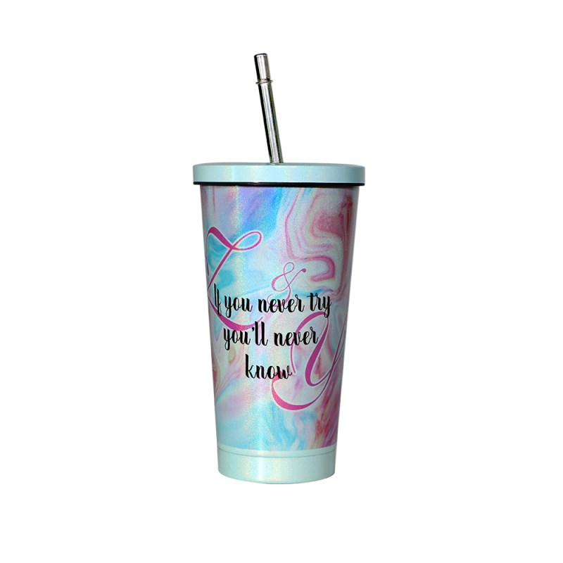 450ML Stainless Steel Rainbow Sparkle Straw Cup-Green
