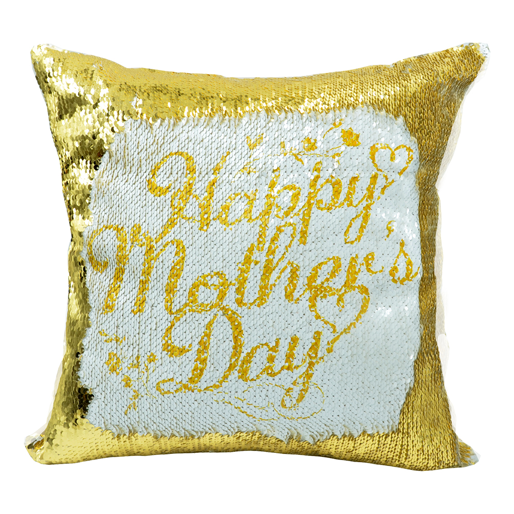 Sequin Pillow Case-Square Shape-Gold