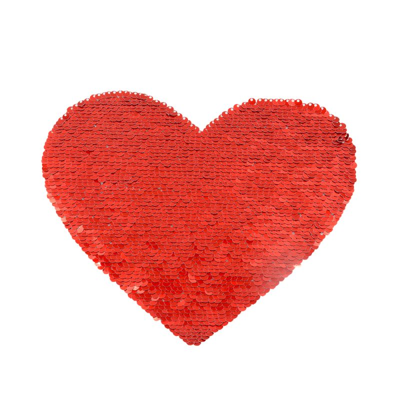 Red/White Sequin Transfer (Back Sticker) Heart Shape