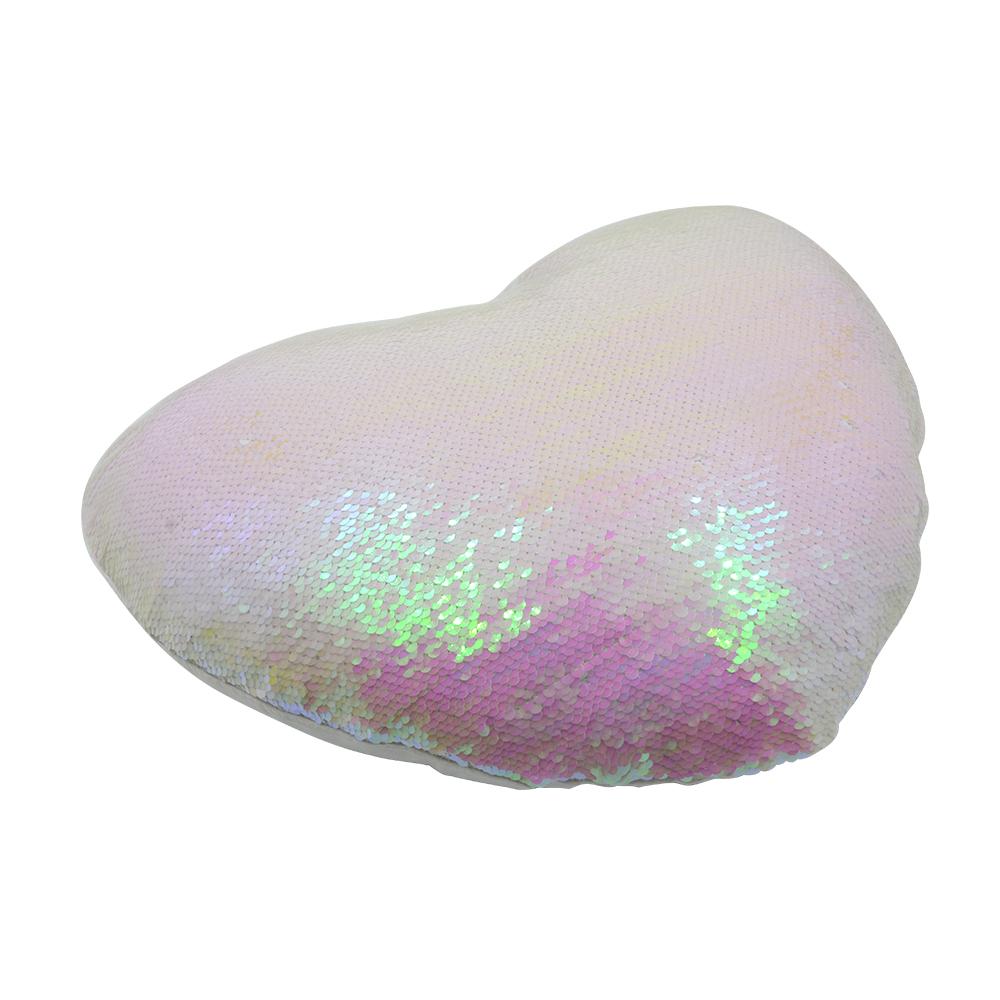 heart shaped sequin pillow case