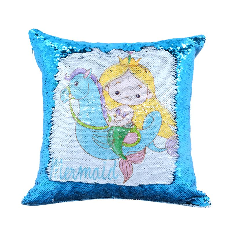 Sequin Pillow Case-Square Shape-Blue