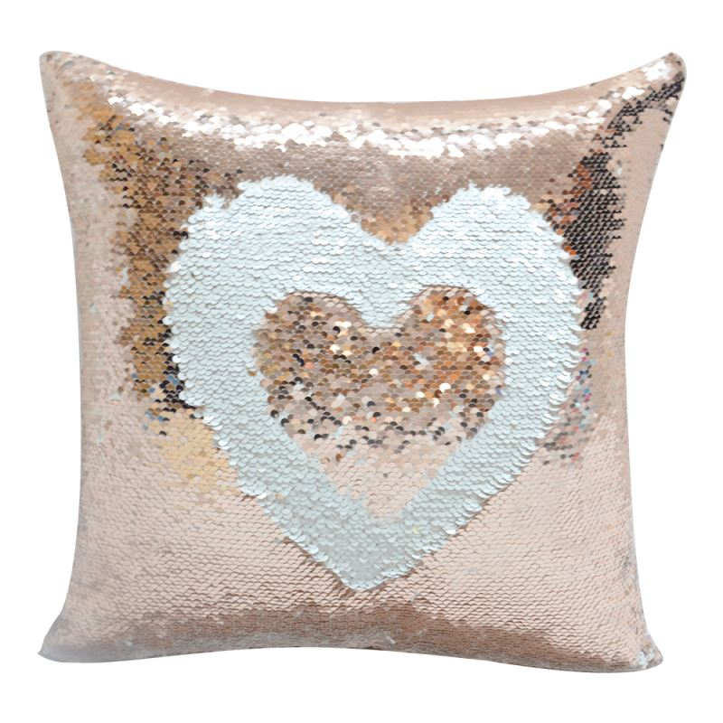 Sequin Pillow Case-Square Shape-Rose Gold