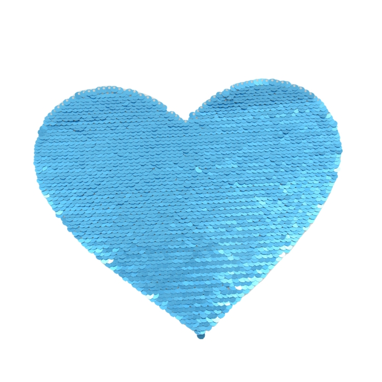 Blue Sequin Transfer Heart shape 16.5*19.5cm
