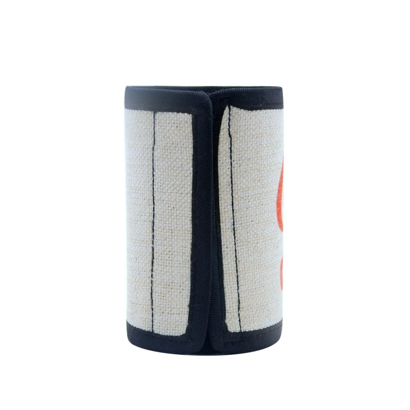 Linen Can Cooler With Vercro and Black Edge