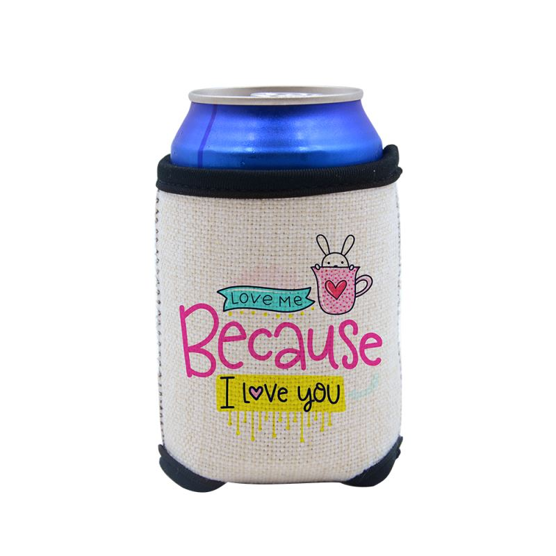 Sublimation Linen Can Cooler with Base