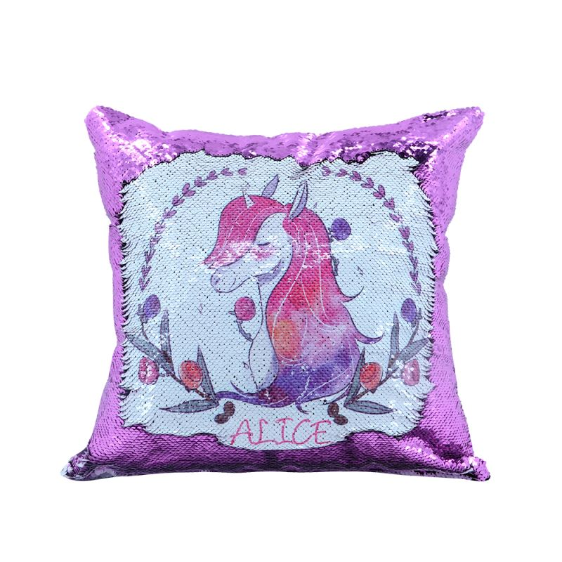 Sequin Pillow Case Square Shape Purple