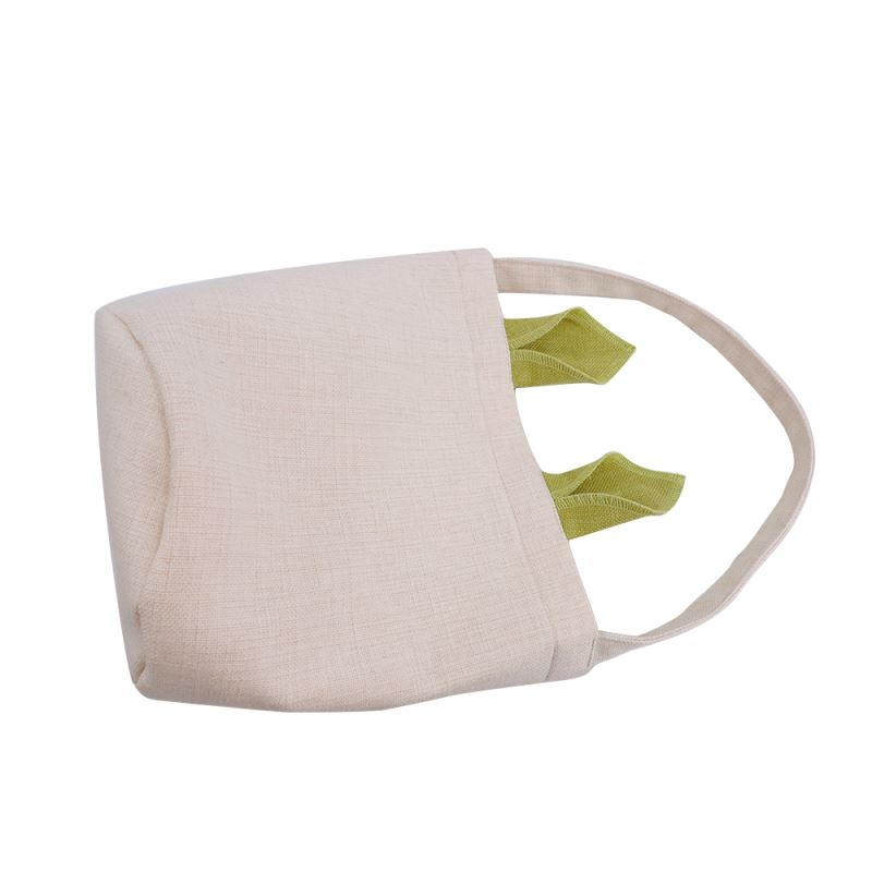 """Linen Easter Basket-Natual with Green Ear-Dia 7.8""""*H 9.8"""""""