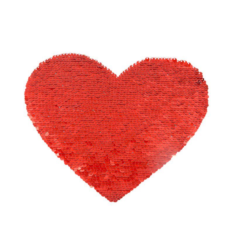 Red/White Sequin Transfer (Back Sticker) Heart Shape