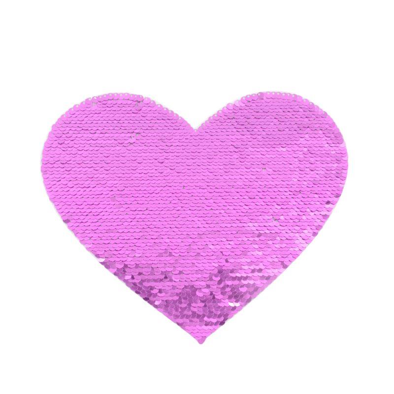 Purple/White Sequin Transfer  Heart shape 16.5*19.5cm
