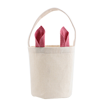Linen Easter Basket-Natual with Green Ear-Dia 7.8