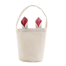 Linen Easter Basket-Natual with Blue Ear-Dia 7.8