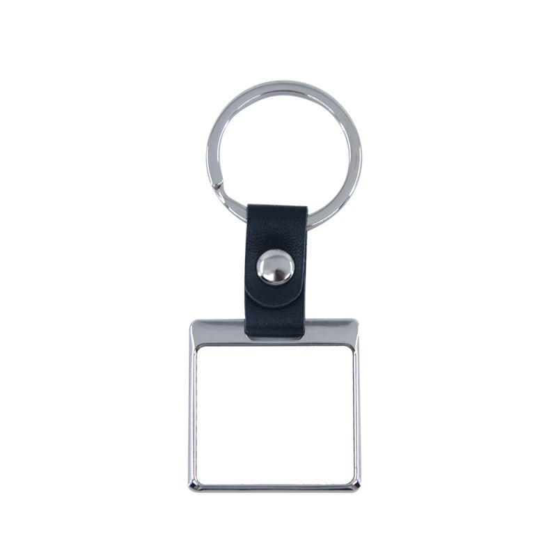 Square Shape Keychain With Leather Chain