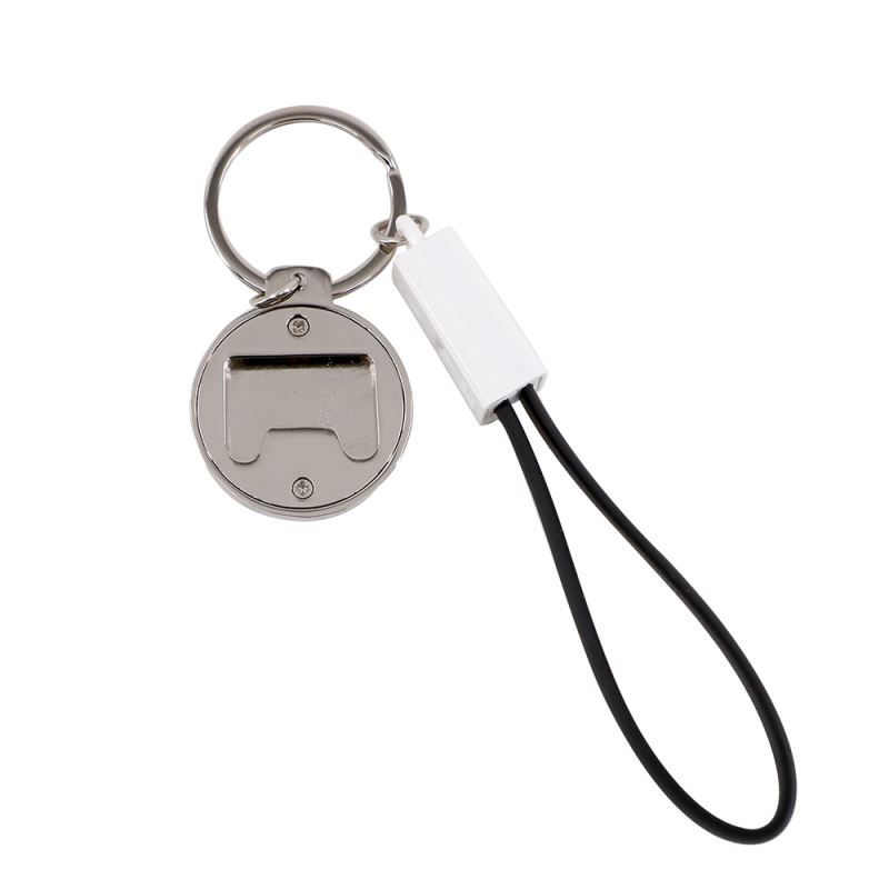 Keychain USB lightning Charging Cable & Bottle Opener-Leather Black