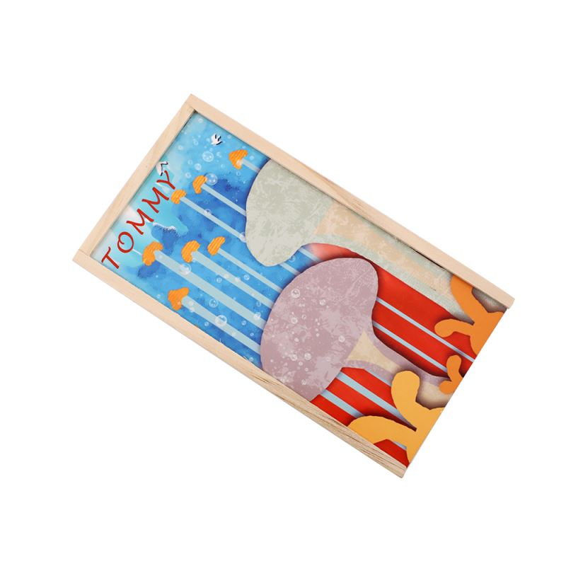 Wooden Pencil Box with MDF Insert - with 12pcs Colorful Pencil
