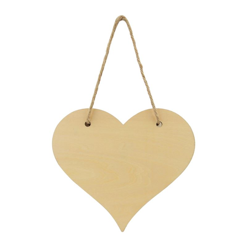 Natural Wood Plaque - Double Side Printable - Heart