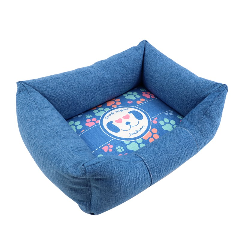 Linen Bumper Pet Bed--Blue-S