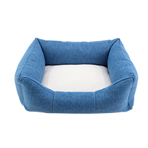 Linen Bumper Pet Bed--Blue-S
