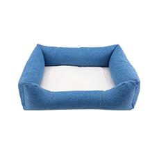 Linen Bumper Pet Bed-Blue-M